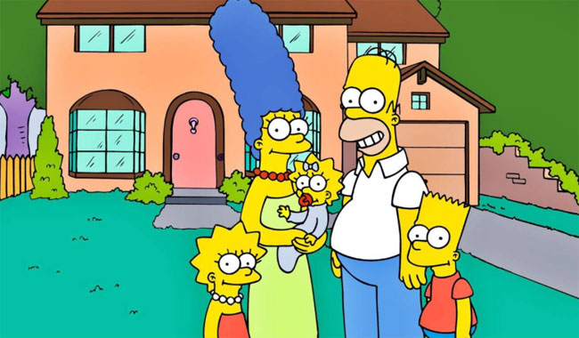 La familia Simpson delante de su casa