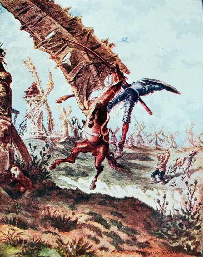 Don Quijote derribado por el aspa de un molino. Fondo Antiguo de la Biblioteca de la Universidad de Sevilla