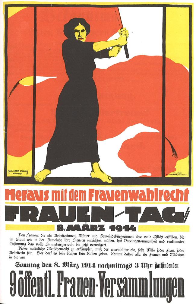 Póster alemán de 1914 del Día Internacional de la Mujer Trabajadora
