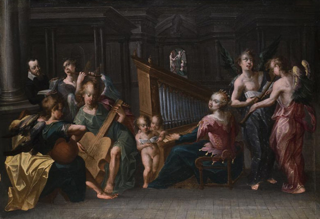 Santa Cecilia con un coro de Ángeles. Anónimo. Siglo XVII